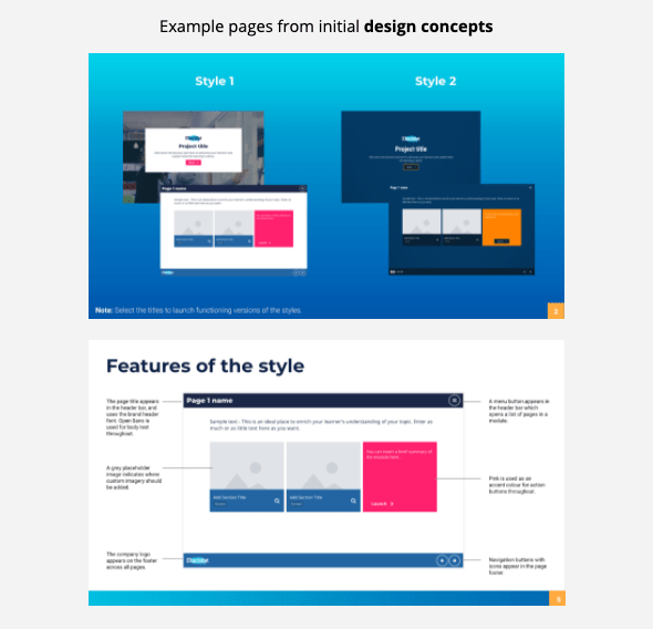 Example pages from initial design concepts